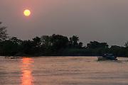 Sunset over Cuiaba River<br /> Pantanal, BRAZIL, South America