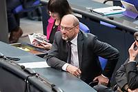 08 NOV 2018, BERLIN/GERMANY:<br /> Martin Schulz, MdB, SPD, Bundestagsdebatte zum sog. Global Compact fuer Migration, Plenum, Deutscher Bundestag<br /> IMAGE: 20181108-01-057<br /> KEYWORDS: Sitzung