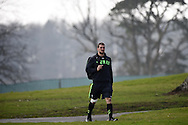 Sam Warburton, the Wales rugby captain walks to the training pitch. Wales rugby team announcement and training at the Vale Resort in Hensol, near Cardiff , South Wales on Tuesday 17th March 2015. The team are preparing for their next RBS Six nations match against Italy this weekend. <br /> pic by Andrew Orchard, Andrew Orchard sports photography.