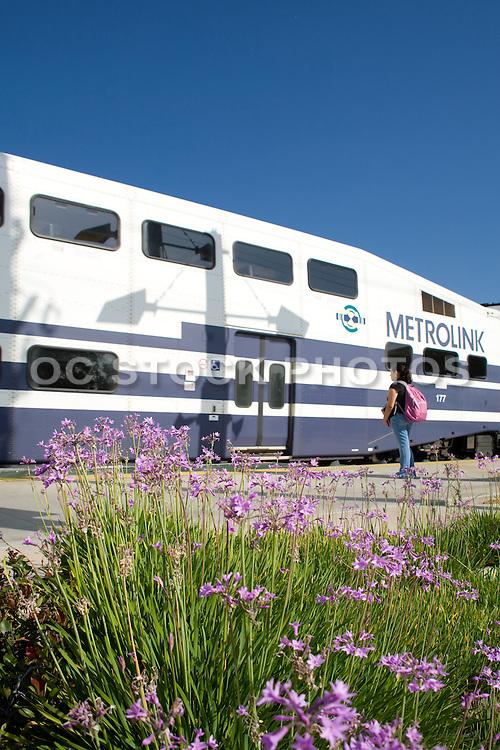 Metrolink at Canyon Station Stock Photo