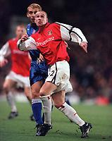 Rhys Weston (Arsenal) James Scowcroft (Ipswich). Arsenal 1:2 Ipswich Town, Worthington Cup, Third Round, 1/11/2000. Credit Colorsport / Stuart MacFarlane.