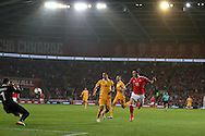 Gareth Bale of Wales scores his teams 3rd goal. Wales v Moldova , FIFA World Cup qualifier at the Cardiff city Stadium in Cardiff on Monday 5th Sept 2016. pic by Andrew Orchard, Andrew Orchard sports photography