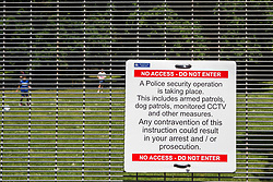 London, UK. 1 June, 2019. A large fence around Winfield House, residence of the US ambassador to the UK, forms part of a large Metropolitan Police security operation being implemented in advance of the state visit of President Trump.