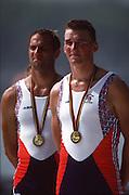 Barcelona,  SPAIN, Steve REDGRAVE and Matthew PINSENT Gold Medallist GBR M2- at the 1992 Olympic Regatta. Lake Banyoles, Nr Barcelona SPAIN,  [Photo, Peter Spurrier/Intersport-images]..       {Mandatory Credit: © Peter Spurrier/Intersport Images].