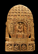 Buddhist votive stele. 550-577 AD. Northern Qi dynasty AD (550-577 AD) Multi-coloured (traces), white marble from Hebei (province), China