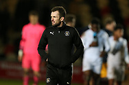 Nathan Jones, the Luton Town manager looks on at the end of the game. EFL Skybet football league two match, Newport county v Luton Town at Rodney Parade in Newport, South Wales on Tuesday 21st March 2017.<br /> pic by Andrew Orchard,  Andrew Orchard sports photography.