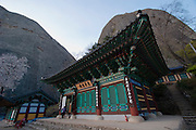 """Maisan (Horse Ear Mountain) Provincial Park. Buddhist temple between the two """"ears""""."""