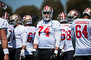 San Francisco 49ers tackle Joe Staley (74) works out during the San Francisco 49ers training camp at Levi's Stadium in Santa Clara, California, on August 25, 2017. (Stan Olszewski/Special to S.F. Examiner)