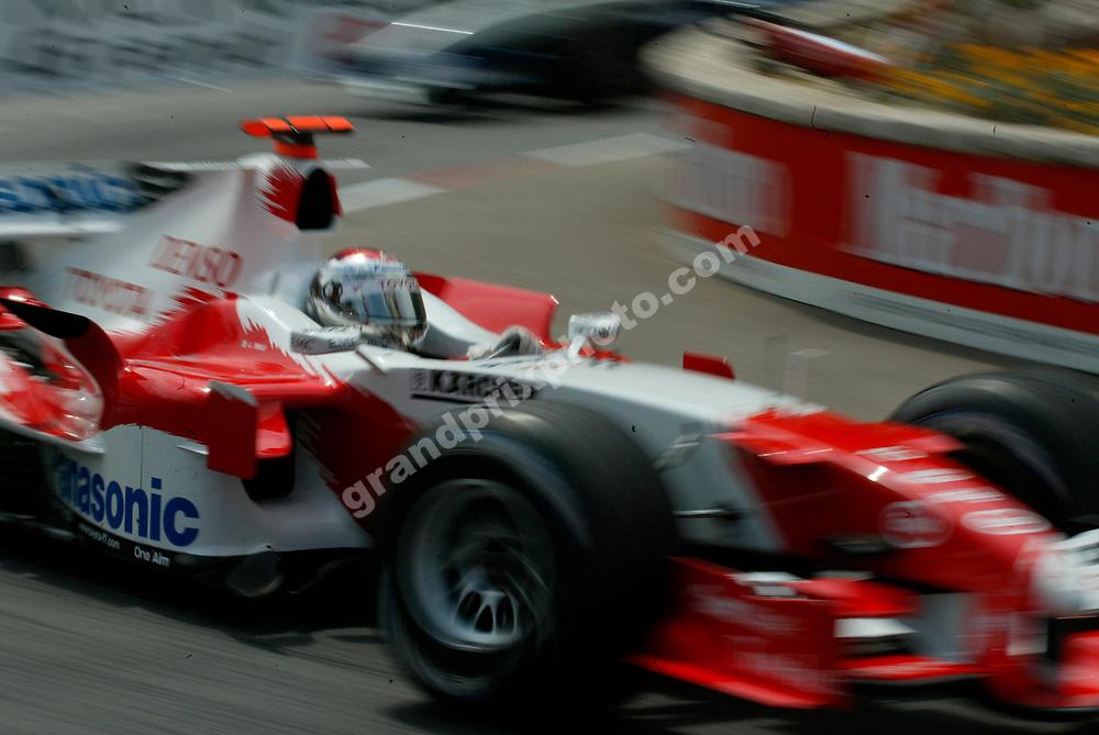 Jarno Trulli in a blurred action shot from the 2005 Monaco Grand Prix. Photo: Grand Prix Photo