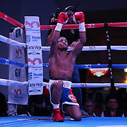 Yenifel Vicente celebrates after he knocks out Victor Proa during their championship boxing match for the WBO Latin American junior featherweight title at the Hotel El Panama Convention Center on Wednesday, October 31, 2018 in Panama City, Panama. (Alex Menendez via AP)