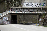 graffiti on a underpass in a mountain area Pyrenees France