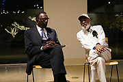 """11/21/19 Jackson,MS. James Meredith  leads a conversation at the Mississippi Museum of Art on the U.S. Constitution, citizenship and art, focused on artist Mildred Wolfe's """"Four Freedoms"""". Meredith said he has always though of himself as an artist and used the United States Constitution to get him into Ole Miss. Joining Meredith in the conversation was Professor Hilliard Lackey, left and Lt.Col. Andy Thaggard. Photo ©Suzi Altman"""