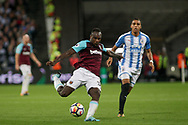 Michail Antonio of West Ham has a shot at goal . Premier league match, West Ham Utd v Huddersfield Town at the London Stadium, Queen Elizabeth Olympic Park in London on Monday 11th September 2017.<br /> pic by Kieran Clarke, Andrew Orchard sports photography.