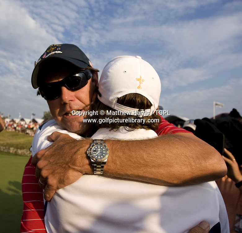 Captain Paul Azinger (USA) consoles Sergio Garcia (EUR) during Singles 2008 Ryder Cup Matches, Valhalla, Louisville, Kentucky, USA.