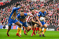Shrewsbury Town scramble for the ball in search for a goal during the EFL Trophy Final match between Lincoln City and Shrewsbury Town at Wembley Stadium, London, England on 8 April 2018. Picture by Stephen Wright.