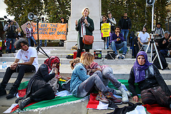 © Licensed to London News Pictures. 15/10/2016. London, UK. Labour MP STELLA CREASY speaks at pro-refugee protesters demanding the Government to enact Lord Dubs amendment to take more children refugees to Britain at Parliament Square, London on 15 October 2016. Photo credit: Tolga Akmen/LNP
