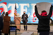 """16 OCTOBER 2020 - PERRY, IOWA: DOUG EMHOFF speaks at a """"Get Out the Vote"""" event in Perry. Emhoff, the husband of Vice Presidential Candidate Kamala Harris, spoke to a group of about 30 people. The crowd was socially distanced and masks were required in  keeping with CDC and state of Iowa health guidelines to deal with the COVID-19 pandemic. Emhoff is traveling throughout Nebraska and Iowa today, campaigning on behalf of the Biden/Harris ticket.        PHOTO BY JACK KURTZ"""
