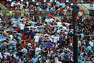 Man city fans celebrating goal by turning backs to pitch during the FA Community Shield match between Chelsea and Manchester City at Wembley Stadium, London, England on 5 August 2018.