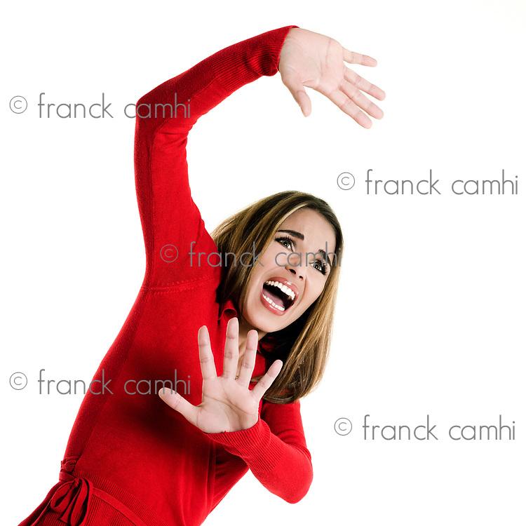 beautiful brunette  woman on white background