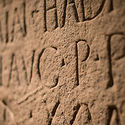 A building inscription etched into stone found at the fort of Moresby, Cumbria, on display at the British Museum. It is dated to around AD 128-38. The British Museum in downtown London us dedicated to human history and culture and has about 8 million works in its permanent collection.