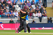 Corey Anderson of Somerset goes on the attack during the Vitality T20 Finals Day semi final 2018 match between Sussex Sharks and Somerset County Cricket Club at Edgbaston, Birmingham, United Kingdom on 15 September 2018.