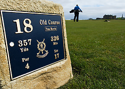 Detail of Tee box on 18th hole at famous Old Course at St Andrews in Scotland
