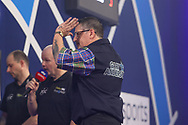 Gary Anderson wins the match during the William Hill World Darts Championship Semi-Finals at Alexandra Palace, London, United Kingdom on 2 January 2021.