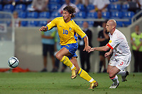 Faro 27/6/2004 Euro2004 <br />Svezia - Olanda 4-5 after penalties (0-0) <br />Zlatan Ibrahimovic of Sweden and Jaap Stam of Netherlands<br />Photo Andrea Staccioli Graffiti
