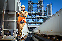 Petroleum Service Company employees perform rail services at a South Louisiana industrial facility.