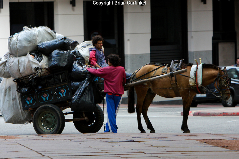 Montevideo, Uruguay - The Garbage in Montevideo is collected by horsedrawn carts