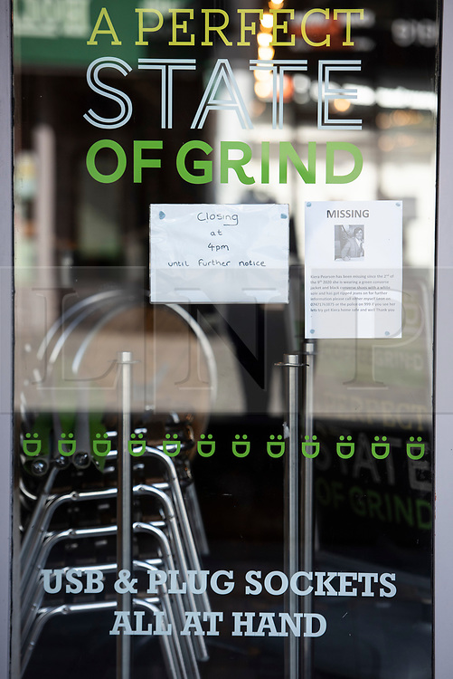 © Licensed to London News Pictures. 09/09/2020. Bolton, UK. A coffee shop displays a sign saying closing until further notice on a quiet morning in Bolton as new restrictions are brought in to the local lockdown. Hospitality businesses can only serve takeaway and cannot open between 10pm and 5am.  Photo credit: Kerry Elsworth/LNP