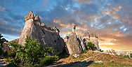 """Pictures & images of the fairy chimney rock formations and rock pillars of """"Pasaba Valley"""" near Goreme, Cappadocia, Nevsehir, Turkey"""