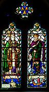 Stained glass window church of Saint Peter and Paul, Felixstowe, Suffolk, England, UK - Saint Felix and King Sigebert