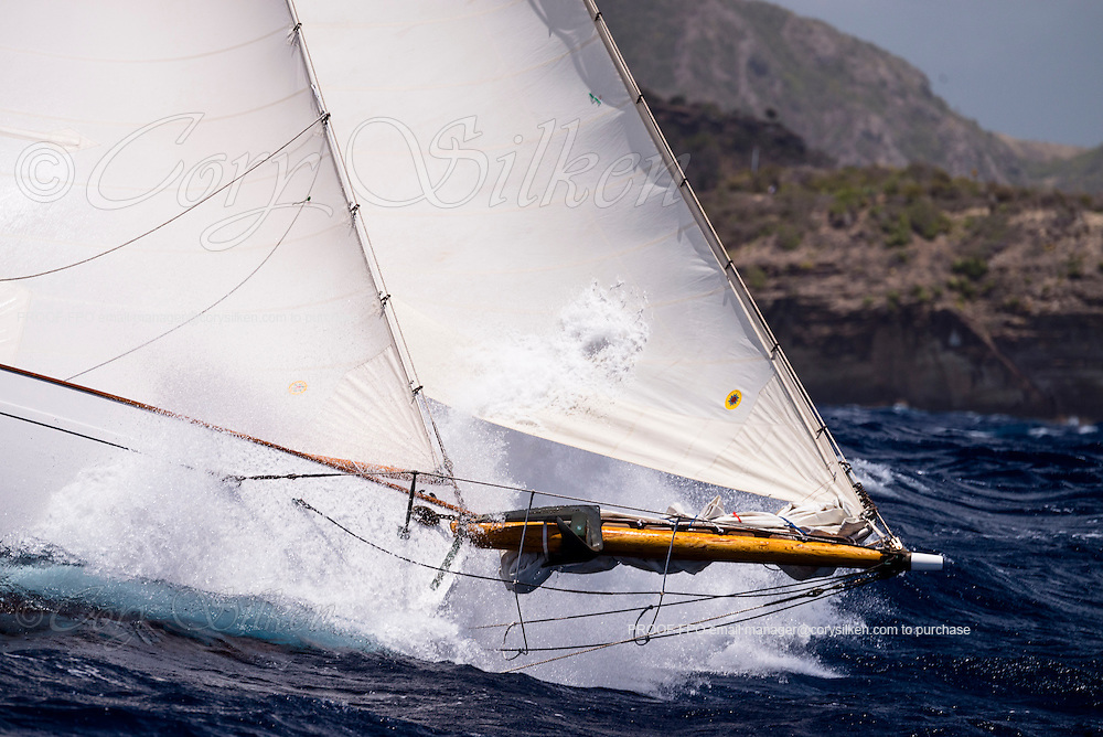 Juno sailing in the Butterfly Race at the Antigua Classic Yacht Regatta.