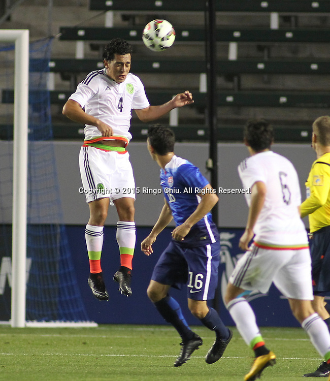 Mexico's Luis Guzm‡n #4 actions against United States during a men's national team international friendly match, April 22, 2015, at StubHub Center in Carson, California. United States won 3-0. (Photo by Ringo Chiu/PHOTOFORMULA.com)