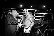 Ultimate bare-Knuckle boxing competition at Manchester's Bowlers Exhibition Centre, Old Trafford, Manchester, UK.<br /> Photo shows Gareth Gumpy Walker, who won his fight against Ben Waddington.<br /> Photo ©Steve Forrest/Workers' Photo
