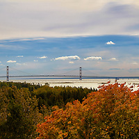"""""""Distance Spanned"""" 2<br /> <br /> Autumn color, Lake Michigan, and Mackinac Bridge.<br /> <br /> The Great Lakes by Rachel Cohen"""