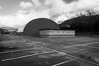AGROPOLI (SA) - 4 FEBBRAIO 2018: Il centro sportivo intitolato a Peppino Impastato inaugurato nel 2013 dall'allora sindacoFranco Alfieri (Partito Democratico), oggi candidato alla Camera dei Deputati nel collegio uninominale di Agropoli (Campania) il 4 febbraio 2018.<br /> <br /> Le elezioni politiche italiane del 2018 per il rinnovo dei due rami del Parlamento – il Senato della Repubblica e la Camera dei deputati – si terranno domenica 4 marzo 2018. Si voterà per l'elezione dei 630 deputati e dei 315 senatori elettivi della XVIII legislatura. Il voto sarà regolamentato dalla legge elettorale italiana del 2017, soprannominata Rosatellum bis, che troverà la sua prima applicazione<br /> <br /> ###<br /> <br /> AGROPOLI, ITALY - 4 FEBRUARY 2018: The sporting center named after Peppino Impastato, inaugurated in 2013 by former mayor of Agropoli Franco Alfieri (PD, Democratic Party, Partito Democratico), now running for the Chamber of Deputies in the 2018 Italian General elections, is seen here in Agropoli, Italy, on February 4th 2018.<br /> <br /> The 2018 Italian general election is due to be held on 4 March 2018 after the Italian Parliament was dissolved by President Sergio Mattarella on 28 December 2017.<br /> Voters will elect the 630 members of the Chamber of Deputies and the 315 elective members of the Senate of the Republic for the 18th legislature of the Republic of Italy, since 1948.