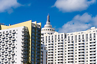 US, Florida, Miami Beach. Loews Miami Beach Hotel, Collins Avenue from the beach.
