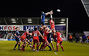 Sale Sharks second-row Bryn Evans catches a line-out ball during a Gallagher Premiership Rugby Union match Sale Sharks -V- Leicester Tigers, won by Sale 36-3 Friday, Feb. 21, 2020, in Eccles, United Kingdom. (Steve Flynn/Image of Sport via AP)