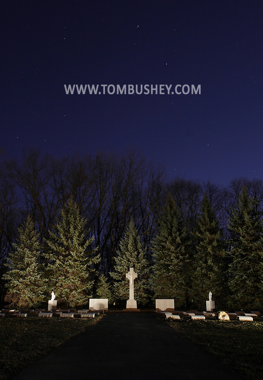 Middletown, New York - The cemetery at the National Shrine of Our Lady of Mount Carmel on the night of March 19, 2011.