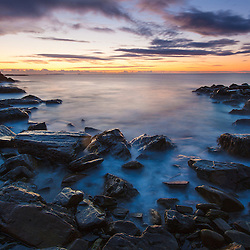 Dawn over the Atlantic Ocean at Wallis Sands State Park in Rye, New Hampshire.