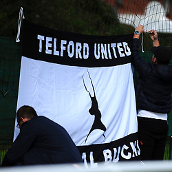 TELFORD COPYRIGHT MIKE SHERIDAN Telford fans put up flags during the pre-season friendly between Ellesmere Rangers and AFC Telford United at Beech Grove, Ellesmere on Saturday, September 5, 2020.<br /> <br /> Picture credit: Mike Sheridan/Ultrapress<br /> <br /> MS202021-022