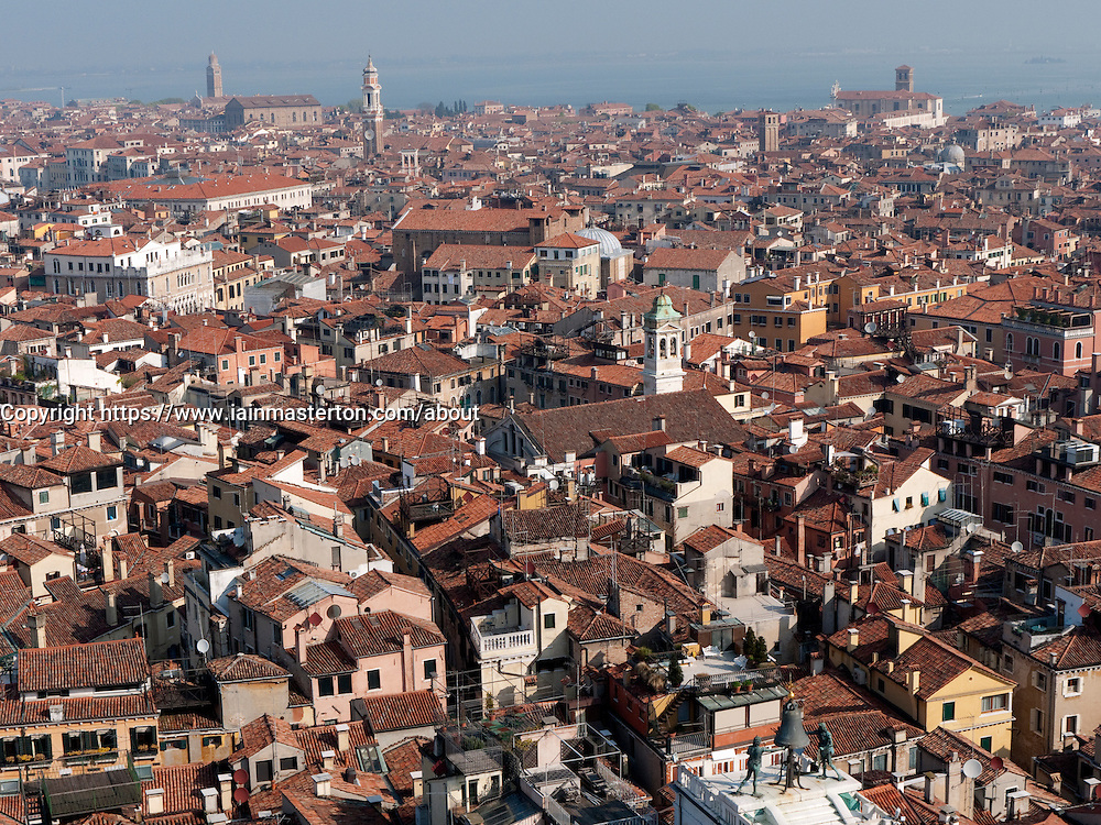 View over historic rooftops of Venice in Italy