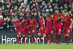 Halbfinale im Liga-Pokal Liverpool vs Leeds 1:0 in Liverpool / 291116<br /> <br /> ***LIVERPOOL, ENGLAND 29TH NOVEMBER 2016:<br /> Liverpool forward Ben Woodburn second left celebrates with teammates after scoring during the English League Cup soccer match between Liverpool and Leeds at Anfield Stadium in Liverpool England November 29th 2016***