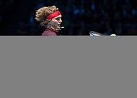 Tennis - 2017 Nitto ATP Finals at The O2 - Day Five<br /> <br /> Group Boris Becker Singles: Alexander Zverev (Germany) Vs Jack Sock (United States)<br /> <br /> Alexander Zverev (Germany) slices his return shot at the O2 Arena<br /> <br /> COLORSPORT/DANIEL BEARHAM