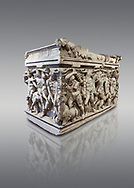 """Roman relief sculpted Hercules sarcophagus with kline couch lid, """"Columned Sarcophagi of Asia Minor"""" style typical of Sidamara, 250-260 AD, Konya Archaeological Museum, Turkey. Against a grey background .<br /> <br /> If you prefer to buy from our ALAMY STOCK LIBRARY page at https://www.alamy.com/portfolio/paul-williams-funkystock/greco-roman-sculptures.html . Type -    Konya     - into LOWER SEARCH WITHIN GALLERY box - Refine search by adding a subject, place, background colour, museum etc.<br /> <br /> Visit our ROMAN WORLD PHOTO COLLECTIONS for more photos to download or buy as wall art prints https://funkystock.photoshelter.com/gallery-collection/The-Romans-Art-Artefacts-Antiquities-Historic-Sites-Pictures-Images/C0000r2uLJJo9_s0"""
