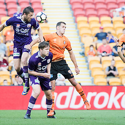 BRISBANE, AUSTRALIA - OCTOBER 30: Dino Djulbic of the Glory heads the ball during the round 4 Hyundai A-League match between the Brisbane Roar and Perth Glory at Suncorp Stadium on October 30, 2016 in Brisbane, Australia. (Photo by Patrick Kearney/Brisbane Roar)