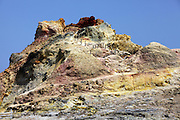 Italy, Sicily, Stromboli volcano island an active crater. Yellow deposits of Sulphur can be seen