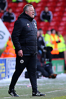 Sheffield United manager Chris Wilder shouts instructions to his team from the dug-out<br /> <br /> Photographer David Shipman/CameraSport<br /> <br /> The EFL Sky Bet Championship - Sheffield United v Nottingham Forest - Saturday 17th March 2018 - Bramall Lane - Sheffield<br /> <br /> World Copyright © 2018 CameraSport. All rights reserved. 43 Linden Ave. Countesthorpe. Leicester. England. LE8 5PG - Tel: +44 (0) 116 277 4147 - admin@camerasport.com - www.camerasport.com